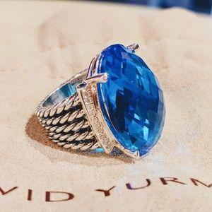 David Yurman Oval Blue Topaz Wheaton Ring size 7